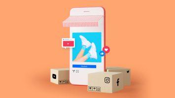 3D Illustration. Shop online concept.
